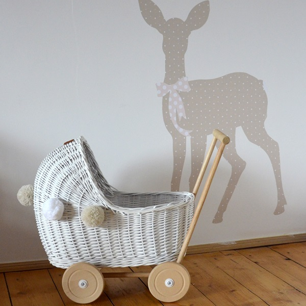 Doll pram - low - WHITE