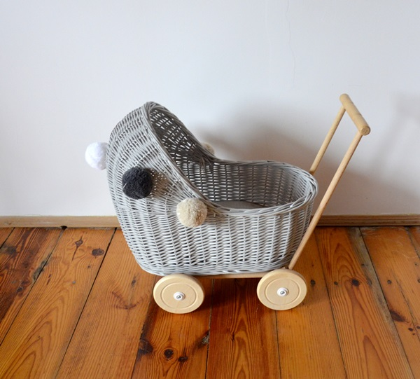 Doll stroller - low - grey