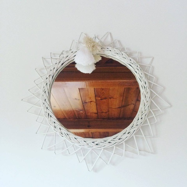 Wicker mirror SUN - white