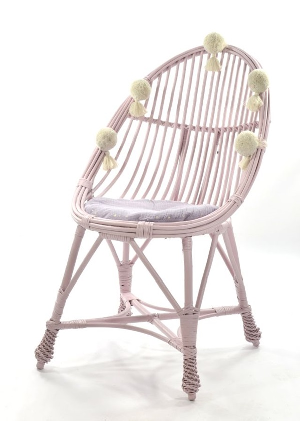 Wicker chair LITTLE TEAR DROP MAALUM - DIRTY PINK (어린이날행사 20% - 재고 1개)