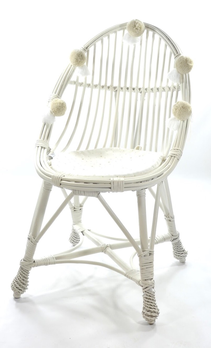Wicker chair LITTLE TEAR DROP MAALUM - WHITE